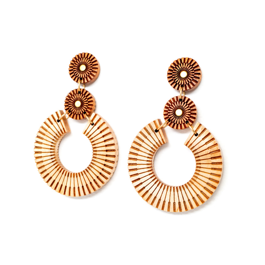 Woven Statement Hoops [Cherry]
