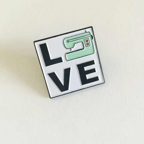 LOVE Sewing Machine - Enamel Pin - Handmade Rebellion