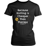 Knitting is Cheaper Than Therapy - Crew (Click for More Colors) - Handmade Rebellion