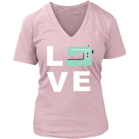 LOVE (Sewing Machine) - V-Neck (Click for More Colors) - Handmade Rebellion
