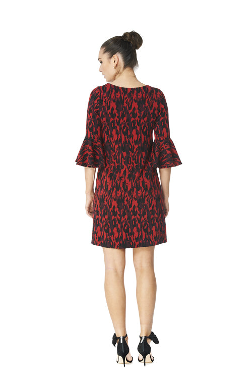 Kristy - 8080 -  Jacquard Bell Sleeve Dress