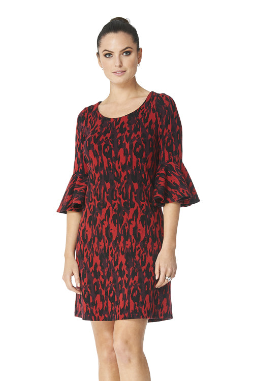 Kristy  Jacquard Bell Sleeve Dress