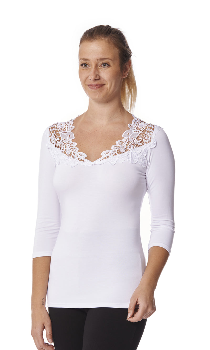Teri 3/4 Sleeve Top with V Neck Appliqué