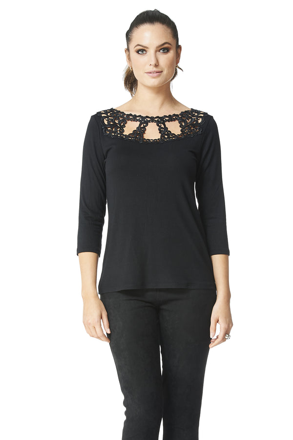 Teri Cutout Applique 3/4 Sleeve Top