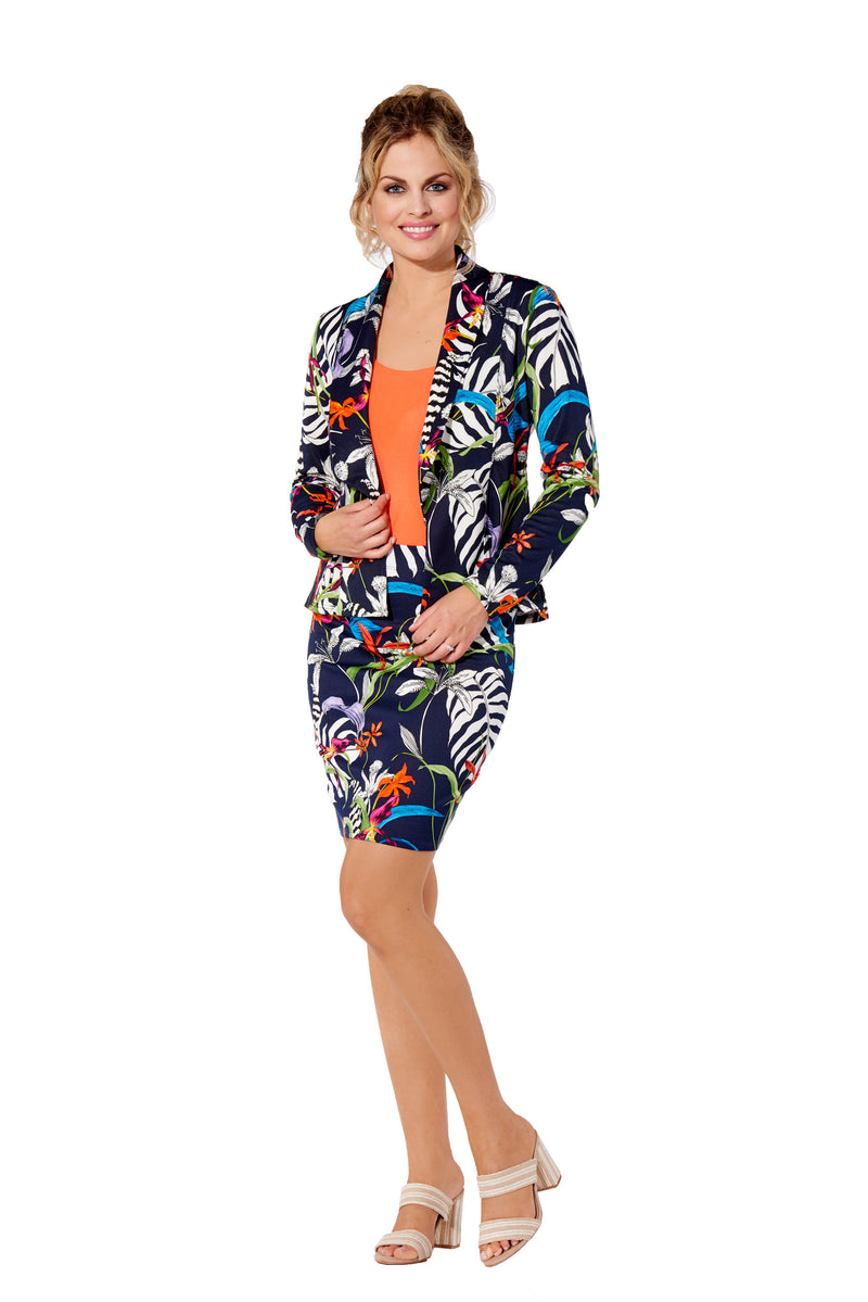 Amazonia - 7785 - Jungle Floral Printed Scuba Jacket