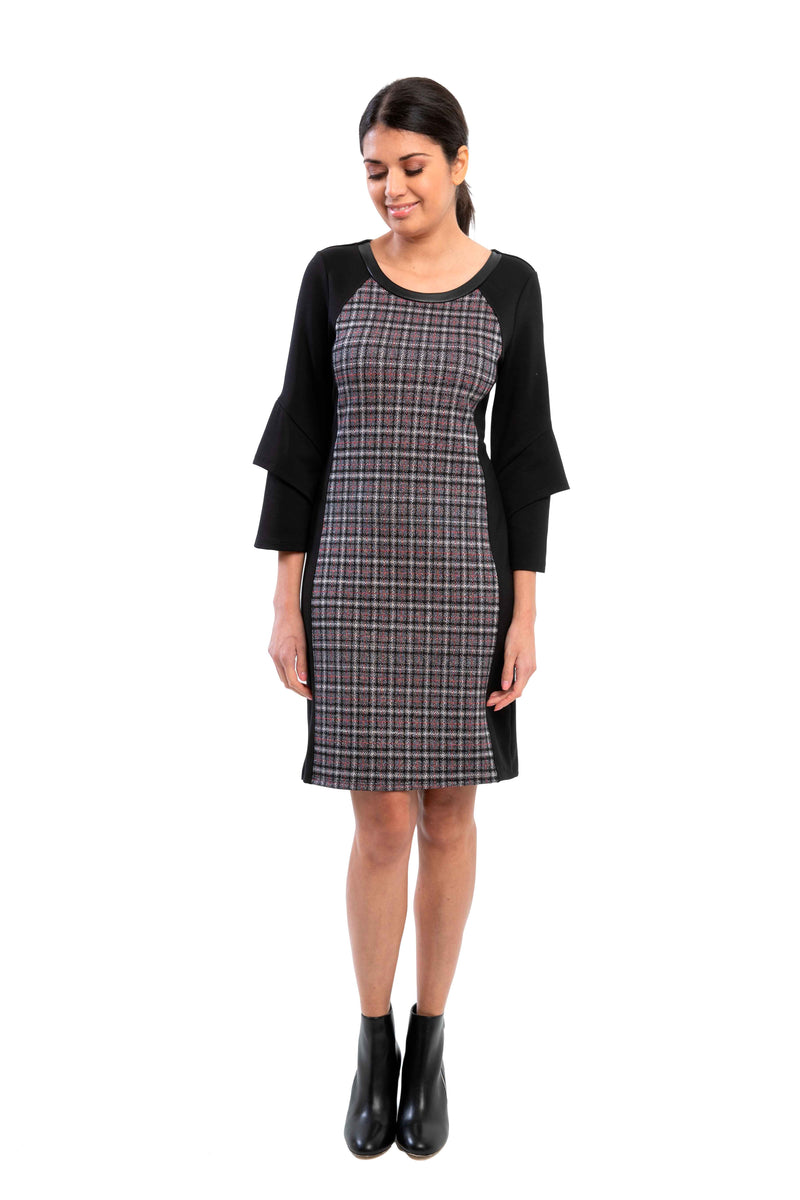 Argenta Jacquard Knit Plaid  Dress