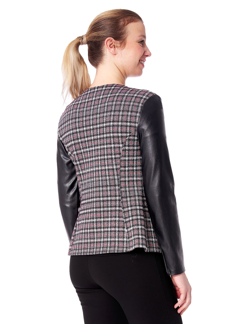 Argenta Plaid and Faux Leather Jacket
