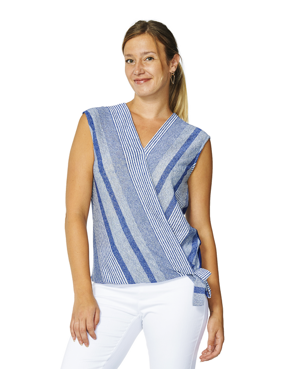 Britt Blue Striped Cross Over Top