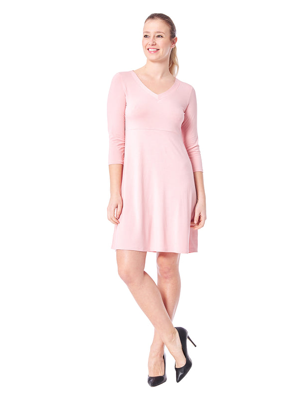 Carmel Solid 3/4 Sleeve Dress