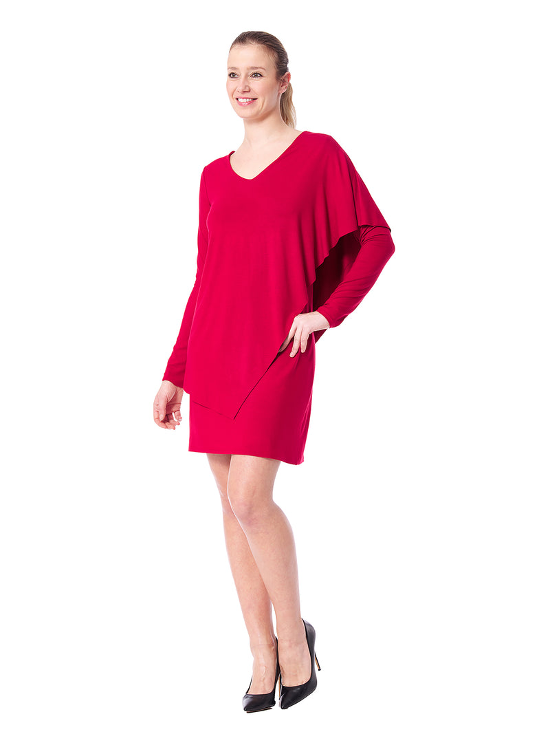 Carmel Solid V-Neck Dress