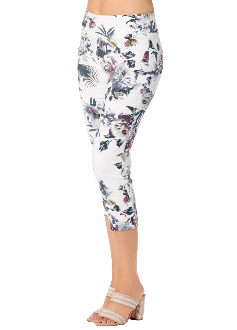 White Fern Printed - 4326 - Pull-On Capri