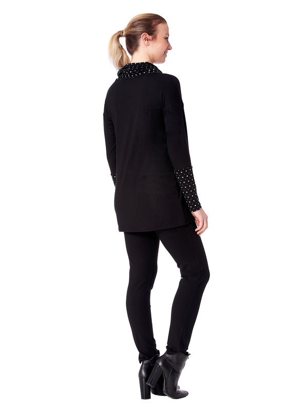 Diamond Long sleeve Tunic with Cowl Neck