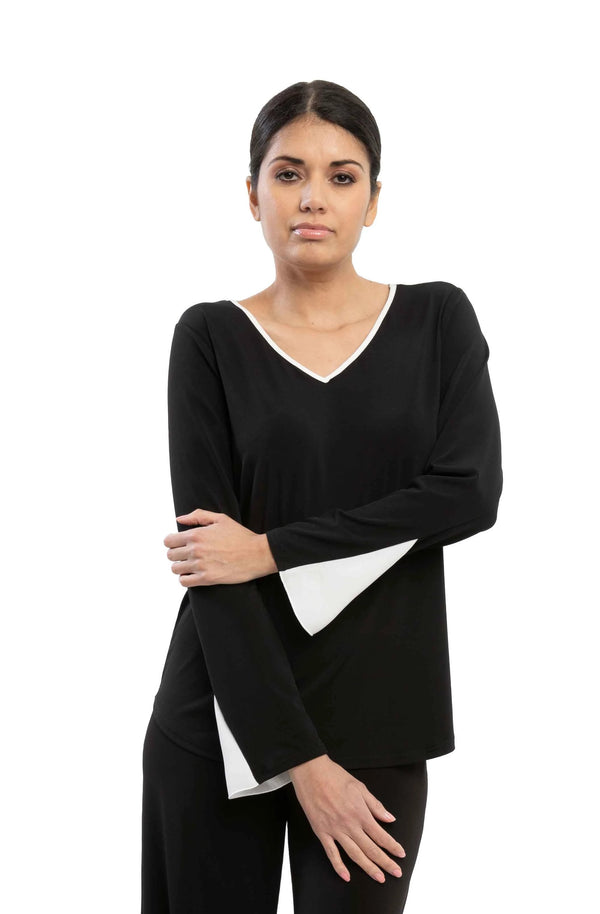 Dallas - 7621 - Black and White Long Sleeve Top