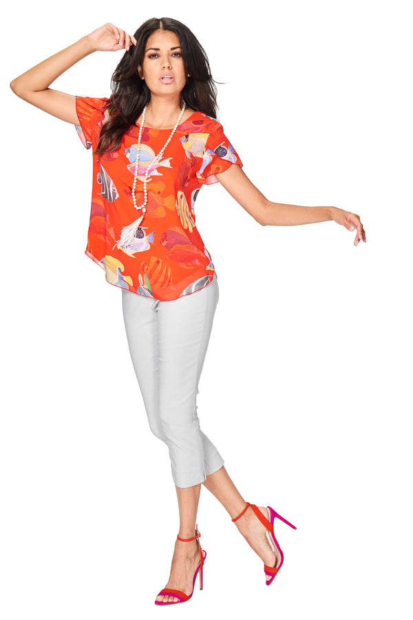 Cozumel - 7726 - Printed Fish Blouse