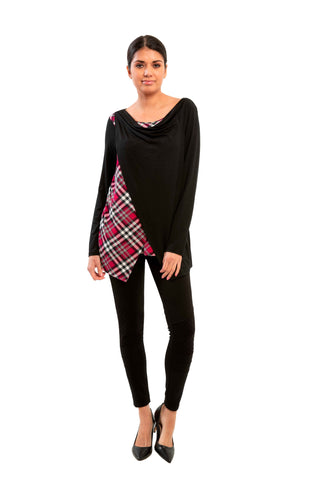 Glascow - 7200 - Long Sleeve Plaid Rayon Top