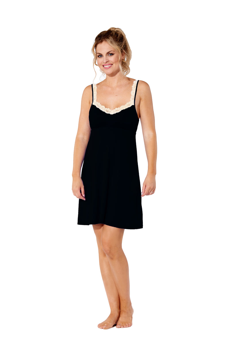 Gwen - 8016 -  Black Chemise with  Cream Lace Trim