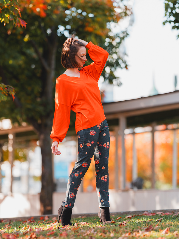 Orange Bouquet  Pant
