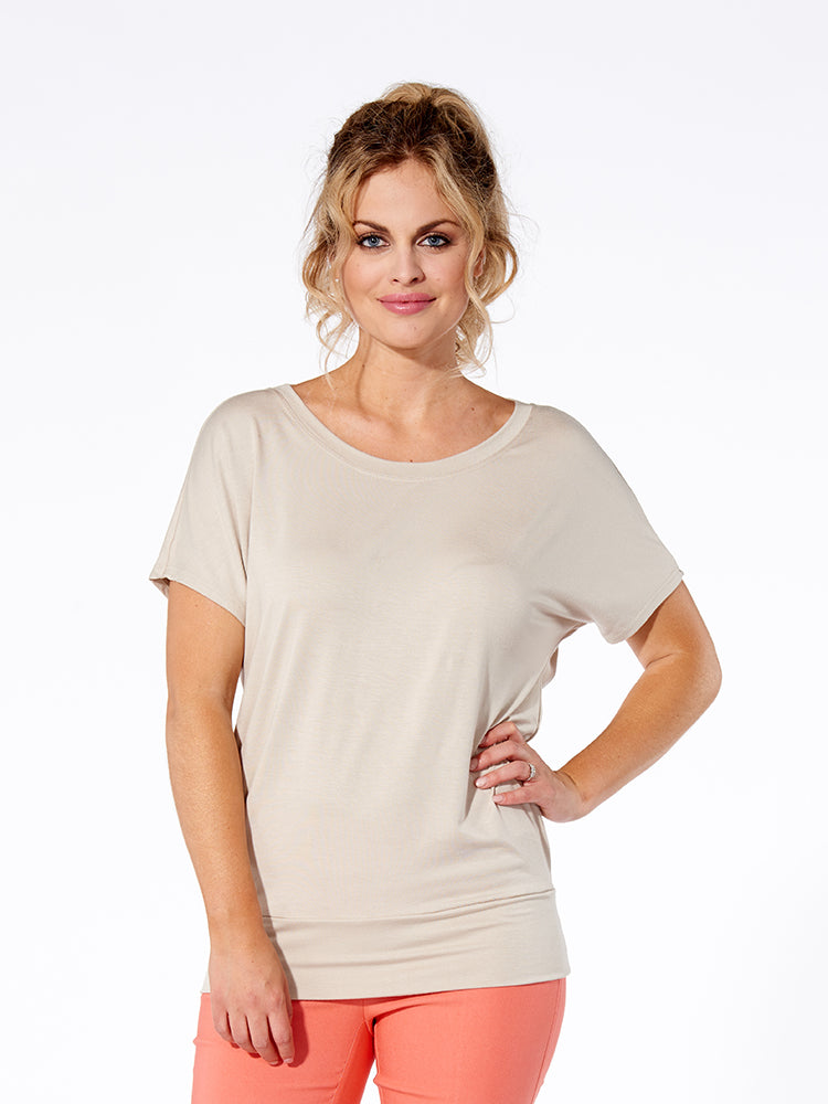 Marie Rayon Dolman Short Sleeve Top