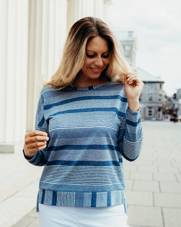 Britt Blue Striped Long Sleeve Top