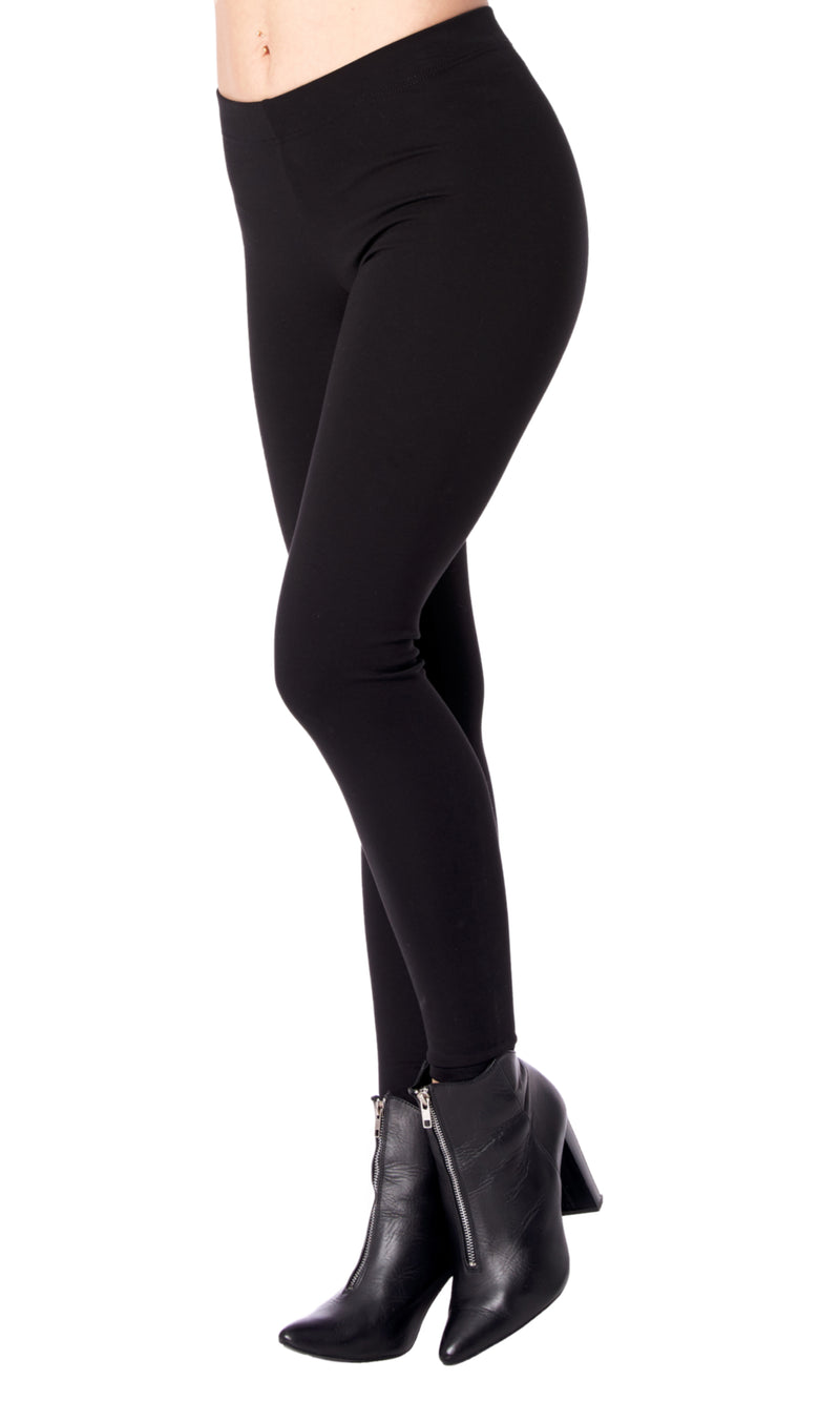 Black Legging with Covered Elastic Waistband