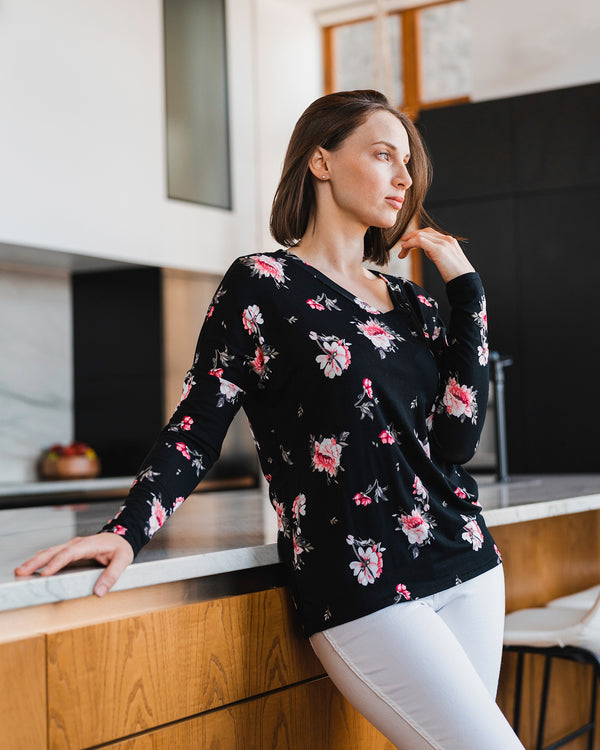 Romance Rose Floral V-Neck Top