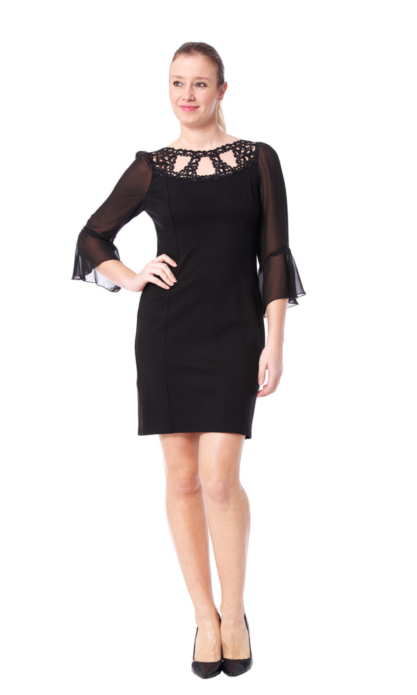 Stefi - 8763 - Ponte De Roma Dress with Sleeve