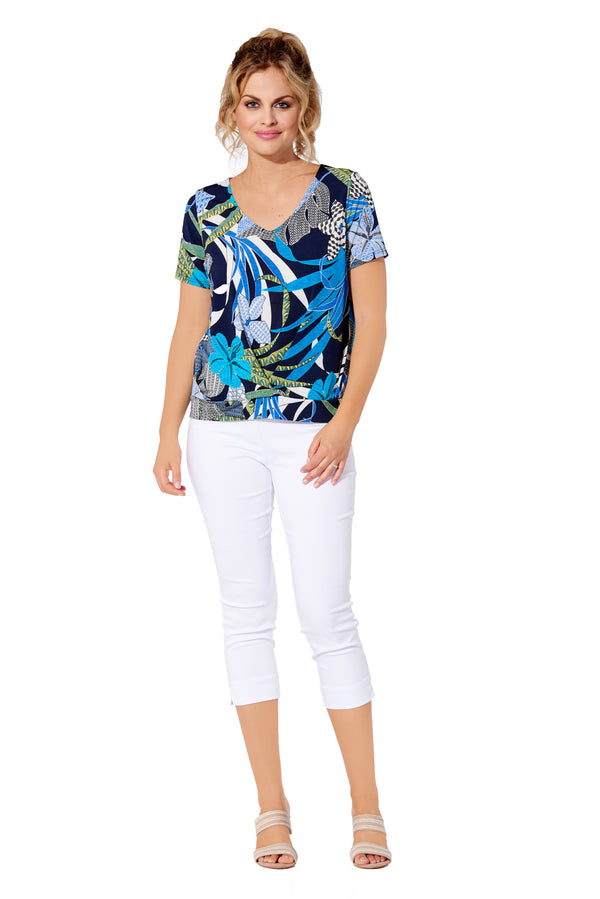 Safari - 7504 - Top V-neck Short Sleeve