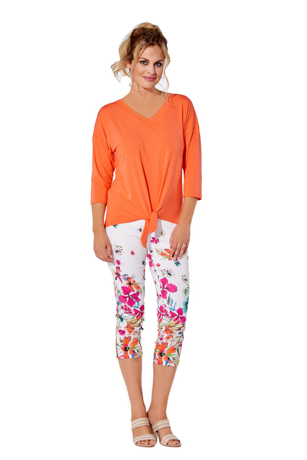 Capri Fushia Floral Border Pull-On