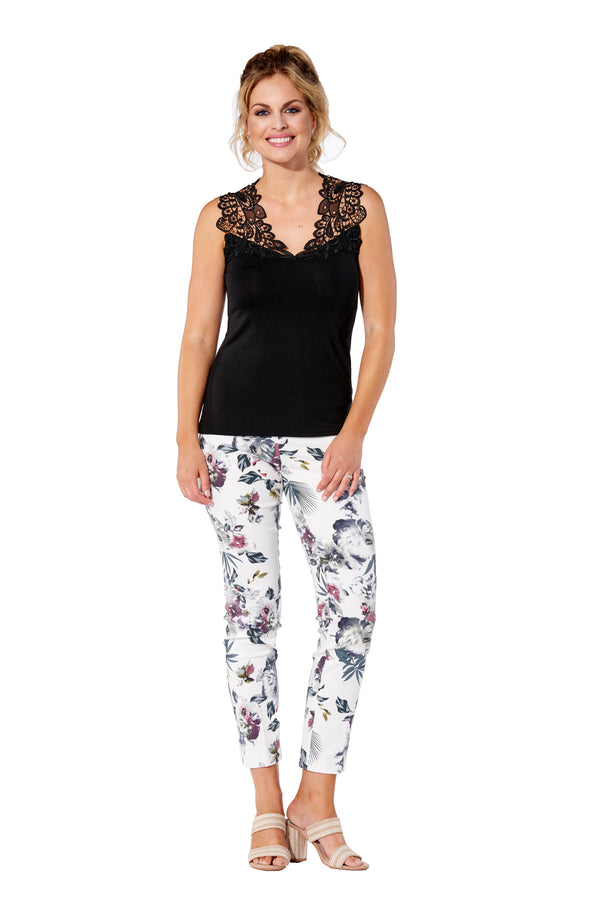 White Fern Printed - 4232 - Pull-On Pant