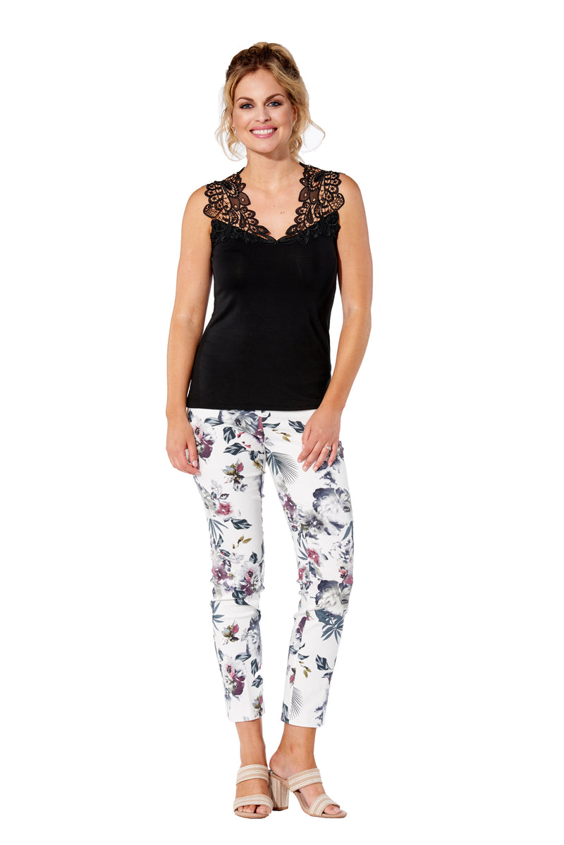 White Fern Printed Pull-On Pant