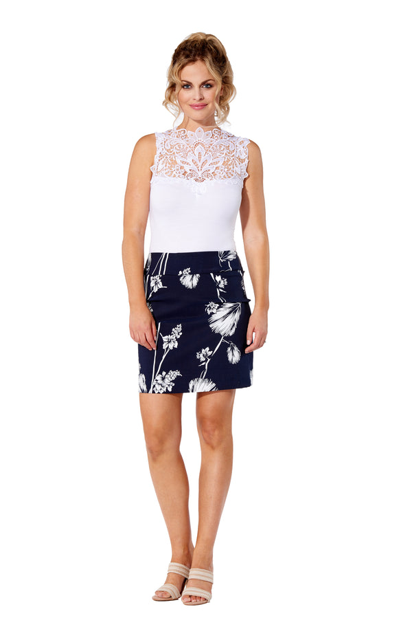 Navy Flower Printed - 3002 - Pull-On Skort