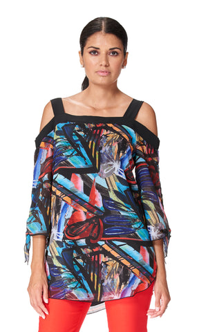 Africa - 9707- Chiffon Cold Shoulder Sleeve Tunic