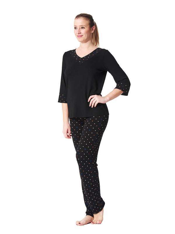 Viva Polka Dot 3/4 Sleeve  Top
