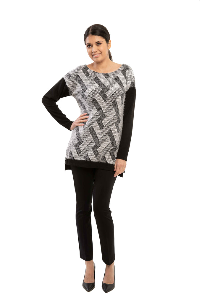 Zoe - 9786 - Hairy Tunic with Side Slits