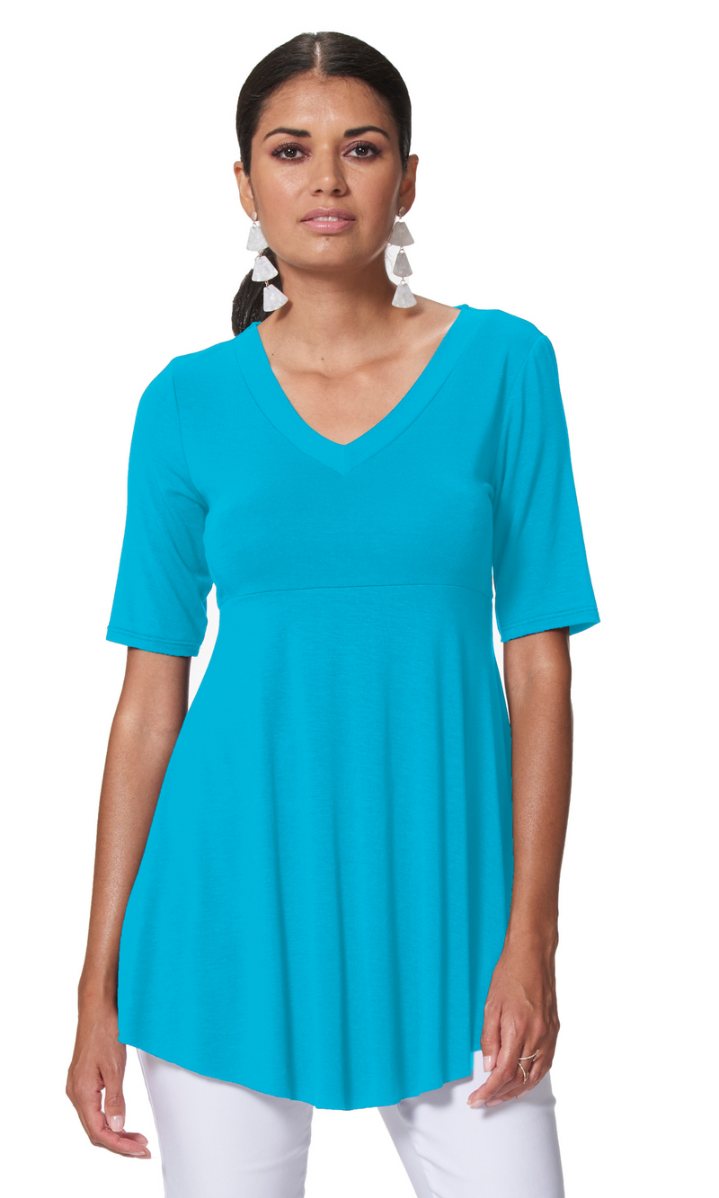 Candice - 9624 - Elbow Sleeve V-Neck Tunic