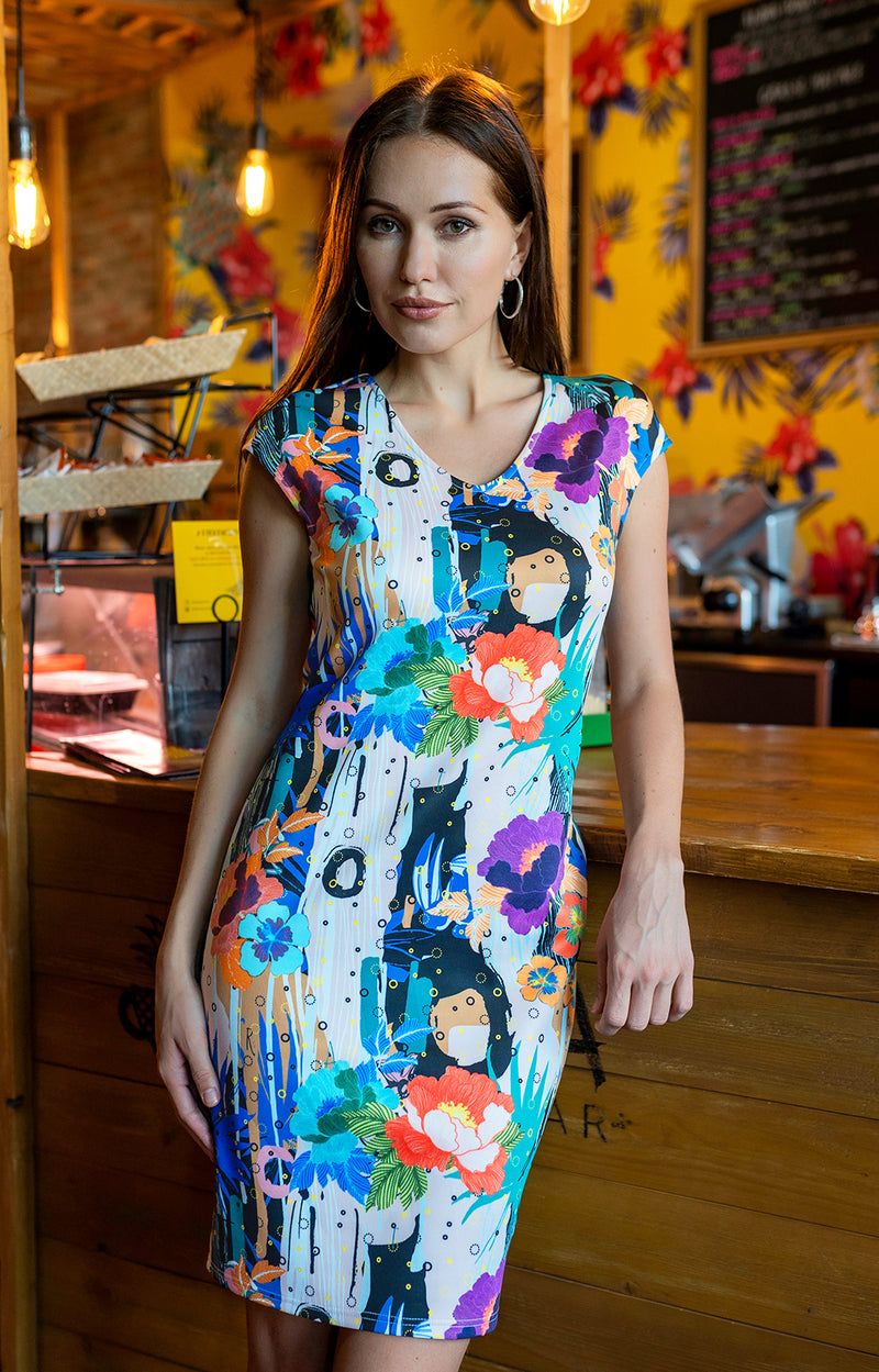 Panama - 8352 - Scuba Printed Dress