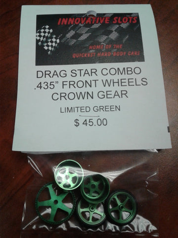 "DRAG STAR COMBO .435"" REAR FRONT WHEELS CROWN GEAR LIMITED GREEN"