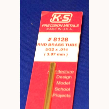 "KS8128 - 5/32 OD Round Brass Tube. 5/32x.14x 12"" long"