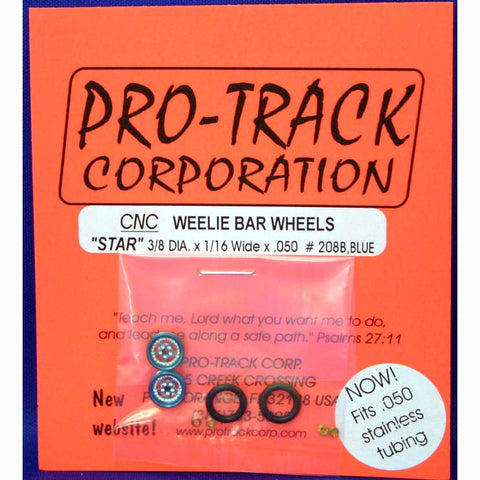 PTM208B,B PROTRACK WHEELIE WHEELS STAR, BLUE - Innovative Slots