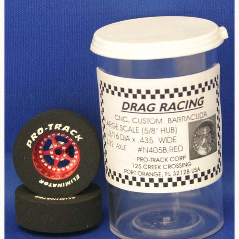 "PTMN405B,R - Drag Rear Tires - For 3/32 axle, they are 1 3/16"" in diameter and .435 wide. - Innovative Slots"