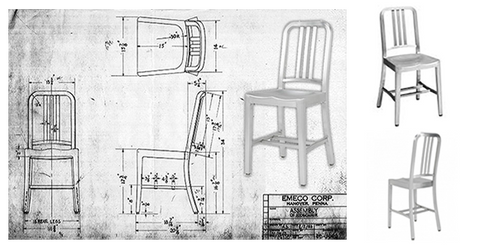 The 1006 Navy chair original sketches
