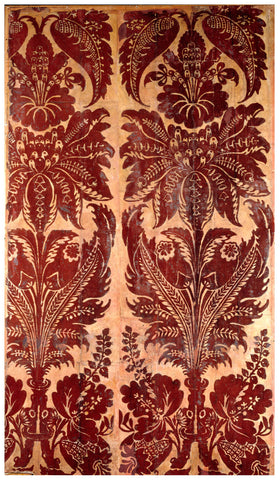 Early example of flocked wallpaper