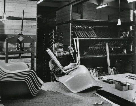 The newly formed eames shell being attached to its base