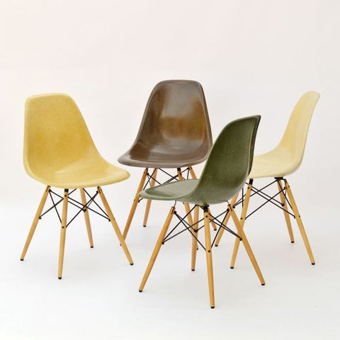 The finished Eames DSW fibreglass chairs