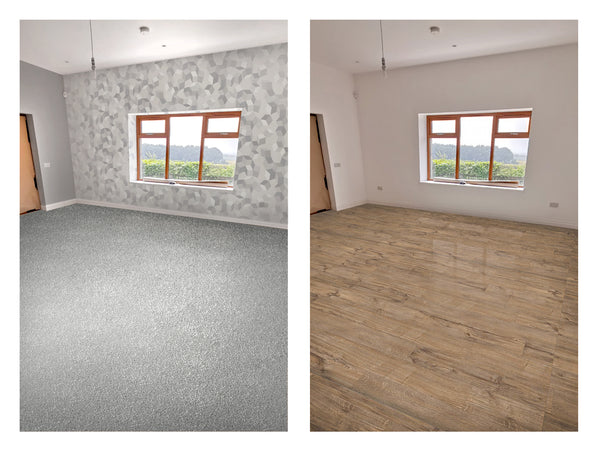 Mockups with Amtico floor, carpet and wallpaper