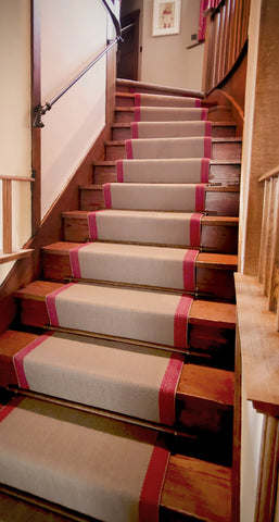 Roger Oates Wool flatweave runner installed on stairway by WB Jamieson