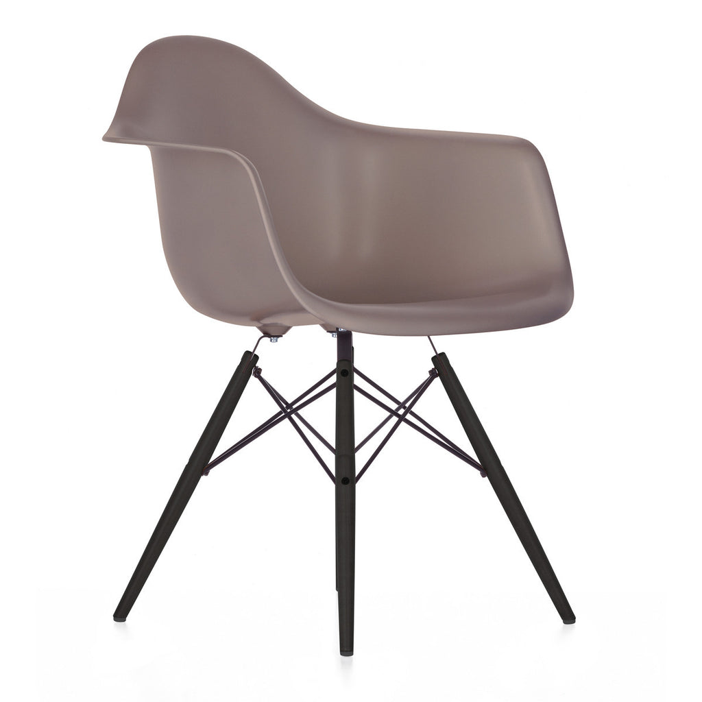 Grey Vitra Eames DAW Vitra Eames Plastic Armchair With Stained Wood Base  Legs From WB Jamieson