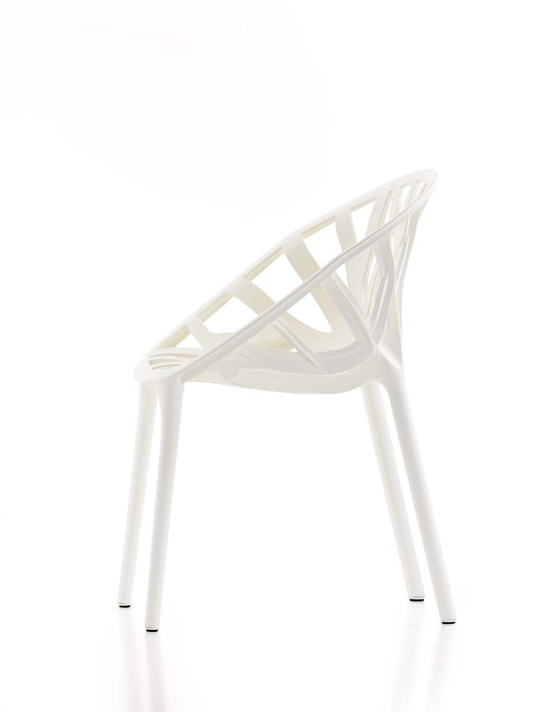 Side view of the Vegetal chair from Vitra. suitable for outdoor use and stackable. From WB Jamieson furniture and interior design specialists.