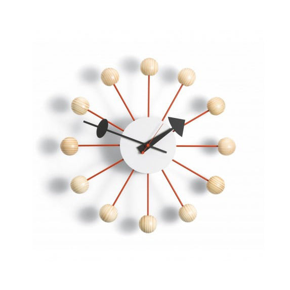 Vitra - Ball Clock (Natural Spruce/Red) - In Stock - ready to ship - Vitra - WB Jamieson