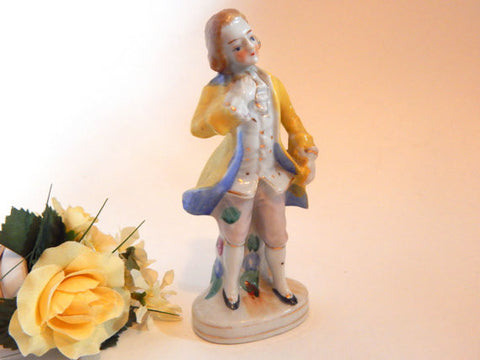 Baroque Man Figurine Vintage Porcelain Hand Painted in Japan Collectible French Provincial Country Cottage Home Decor